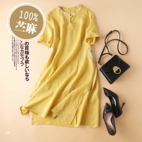 Dress Spring 2021 Yellow green blue purple L XL Mid length dress singleton  Short sleeve commute stand collar High waist Solid color Big swing routine Others 30-34 years old MISS BULU literature Q1259 More than 95% hemp Ramie 100%