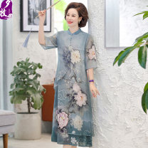 Middle aged and old women's wear Summer 2020 Light blue pink fashion Dress easy singleton  Retro Design 40-49 years old Conjoined moderate Crew neck Medium length routine Ximu Gauze polyester Polyester 100% 96% and above Pure e-commerce (online only) Medium length Chiffon Ruffle Skirt
