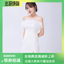 Dress Autumn 2020 White, black XS,S,M,L Short skirt singleton  Sleeveless One word collar High waist Solid color zipper Pencil skirt Breast wrapping Type X Ostrich hair MZ19XA190620 More than 95% other other