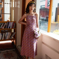 Dress Spring 2021 Purple printing S M L XL Mid length dress singleton  Sleeveless commute One word collar High waist Decor Socket A-line skirt camisole 18-24 years old Type A Meeting Retro Lace up printing QHS01123 More than 95% polyester fiber Polyester 100% Pure e-commerce (online only)
