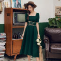 Dress Summer of 2019 Black Blue Green Camel S M L XL Mid length dress singleton  Short sleeve commute square neck High waist Solid color Socket A-line skirt bishop sleeve Others 18-24 years old Type A Meeting Retro Bandage QHS0536 More than 95% polyester fiber Polyester 100%