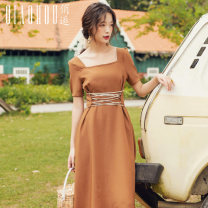 Dress Summer of 2019 Green black blue Camel S M L XL Mid length dress singleton  Short sleeve commute square neck High waist Solid color Socket A-line skirt routine Others 18-24 years old Type A Meeting Retro Lace up QHS0504 More than 95% polyester fiber Polyester 100% Pure e-commerce (online only)