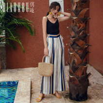 Casual pants Blue and white stripes S M L XL Autumn of 2019 trousers Wide leg pants High waist Sweet routine 18-24 years old QHS0562 Meeting Bandage Polyester 100% Pure e-commerce (online only) Bohemia