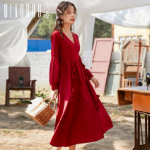 Dress Winter of 2019 gules S M L XL longuette singleton  Long sleeves commute V-neck High waist Solid color Socket bishop sleeve Others 18-24 years old Type A Meeting Retro Three dimensional decoration QHS0713 More than 95% polyester fiber Polyester 100% Pure e-commerce (online only)
