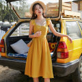 Dress Winter of 2019 yellow S M L XL Mid length dress singleton  Sleeveless Sweet square neck High waist Solid color Socket A-line skirt camisole 18-24 years old Type A Meeting backless QHS0712 More than 95% polyester fiber Polyester 100% Bohemia Pure e-commerce (online only)
