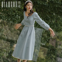 Dress Autumn 2020 Blue check S M L XL longuette singleton  Long sleeves commute Crew neck High waist lattice Socket A-line skirt bishop sleeve Others 18-24 years old Type A Meeting Retro Frenulum QHS0968 More than 95% polyester fiber Polyester 100% Pure e-commerce (online only)