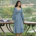 Dress Autumn 2020 Little blue flower S M L Mid length dress singleton  Long sleeves commute square neck High waist Decor Socket A-line skirt bishop sleeve Others 18-24 years old Type A Meeting Retro printing QHS0951 More than 95% polyester fiber Polyester 100%