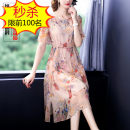 Dress Summer 2020 Decor S,M,L,XL,2XL,3XL Miniskirt singleton  Short sleeve commute Crew neck middle-waisted Decor Socket A-line skirt routine Others Type A Ol style Pleating, embroidery, lace up Chiffon silk