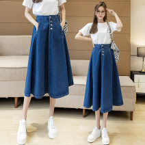 skirt Spring 2021 S,M,L,XL Picture color skirt longuette commute High waist A-line skirt Solid color Type A 18-24 years old GT241 51% (inclusive) - 70% (inclusive) Denim cotton Button Korean version