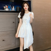 Dress Summer 2021 White, black S,M,L,XL Mid length dress singleton  Long sleeves commute Crew neck High waist Solid color Socket A-line skirt routine Others 18-24 years old Type A Korean version D520 51% (inclusive) - 70% (inclusive)