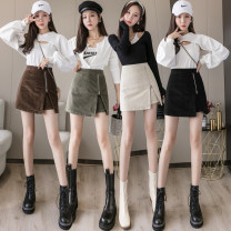 skirt Autumn 2021 S,M,L,XL Black, apricot, green, coffee Short skirt commute High waist A-line skirt Solid color Type A 18-24 years old 51% (inclusive) - 70% (inclusive) corduroy other zipper Korean version
