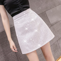 skirt Summer 2021 S,M,L,XL Silver Black, silver white Short skirt commute High waist A-line skirt Solid color Type A 18-24 years old A677 51% (inclusive) - 70% (inclusive) other Other / other other zipper Korean version
