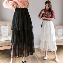 skirt Summer 2021 S,M,L Apricot, white, black, pink longuette commute High waist Cake skirt Solid color Type A 18-24 years old JZT 51% (inclusive) - 70% (inclusive) Chiffon polyester fiber Gauze Korean version