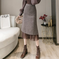 skirt Winter 2021 S,XL,L,M Coffee, black Mid length dress commute High waist Splicing style lattice Type A 18-24 years old D520 51% (inclusive) - 70% (inclusive) Wool Splicing Korean version