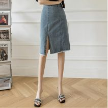 skirt Spring 2021 S,M,L,XL White, black, denim Mid length dress commute High waist skirt Solid color Type H 18-24 years old JZT 51% (inclusive) - 70% (inclusive) Denim Other / other zipper Korean version