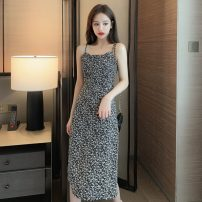Dress Summer 2021 Apricot, black S,M,L,XL Mid length dress singleton  Sleeveless commute square neck High waist Decor Socket A-line skirt camisole 18-24 years old Type A Korean version Pleating, strap, resin fixation GT 51% (inclusive) - 70% (inclusive) Chiffon cotton