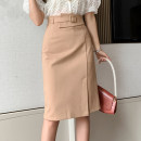 skirt Spring 2021 S,M,L,XL Black, khaki Mid length dress commute High waist skirt Solid color Type A 18-24 years old D123 51% (inclusive) - 70% (inclusive) Three dimensional decoration, asymmetry, splicing Korean version