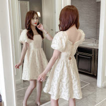 Dress Summer 2021 Apricot S,M,L,XL Short skirt singleton  Short sleeve square neck High waist Solid color Socket A-line skirt puff sleeve Others 18-24 years old Type A GT 51% (inclusive) - 70% (inclusive) Chiffon