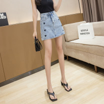 skirt Summer 2021 S,M,L,XL Picture color Short skirt commute High waist A-line skirt Solid color Type A 18-24 years old D123 51% (inclusive) - 70% (inclusive) Denim cotton Hand abrasion Korean version 351g / m ^ 2 (including) - 400g / m ^ 2 (including)
