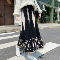 skirt Winter 2021 S,M,L,XL Apricot, black, brown Mid length dress commute High waist A-line skirt Abstract pattern Type A 18-24 years old D520 51% (inclusive) - 70% (inclusive) knitting Other / other cotton Korean version