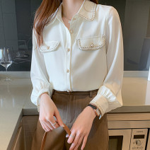 shirt Beige S,M,L,XL,2XL Spring 2021 Chloroprene 51% (inclusive) - 70% (inclusive) Long sleeves commute Regular Polo collar Single row multi button routine Solid color 18-24 years old Straight cylinder Korean version D439 Pocket, button blending