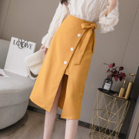 skirt Summer 2021 S,M,L,XL Apricot, yellow, black Mid length dress commute High waist Irregular Solid color Type A 18-24 years old JZT 51% (inclusive) - 70% (inclusive) other Korean version