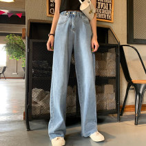 Women's large Autumn of 2019 Floor pants (la-7726) Capris (la-7710) S m large L Large XL Large XXL large XXXXL large Jeans commute easy moderate Solid color Korean version Denim Three dimensional cutting LA-7726+7710 Yao Yi 18-24 years old Button Other 100% Pure e-commerce (online only) trousers