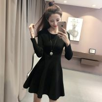 Dress Autumn of 2018 black S M L Middle-skirt singleton  Long sleeves Sweet Crew neck High waist Solid color Pleated skirt routine 18-24 years old Type A Buyido More than 95% other other Other 100% Ruili Pure e-commerce (online only)