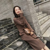 Dress Autumn of 2019 Brown light apricot grey dark cinnamon black S M L XL longuette singleton  Long sleeves commute High collar High waist Solid color Socket One pace skirt 25-29 years old Buyido Retro Frenulum More than 95% other other Other 100% Pure e-commerce (online only)