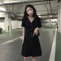Women's large Summer 2020 black Average size singleton  commute Short sleeve Solid color Korean version V-neck other Buyido 18-24 years old Button 96% and above Medium length Other 100% Pure e-commerce (online only)