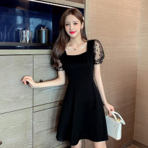 Women's large Summer 2020 black Large L Large XL s M singleton  commute Short sleeve Solid color square neck other puff sleeve Buyido 18-24 years old 96% and above longuette Triacetate fiber (triacetate fiber) 100% Pure e-commerce (online only) zipper