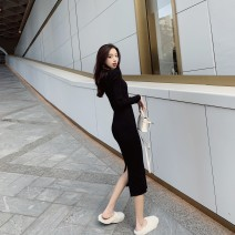 Women's large Autumn 2020 S M L XL singleton  commute Self cultivation thick Long sleeves Solid color Korean version Crew neck have cash less than that is registered in the accounts other routine 1568# Buyido 25-29 years old longuette Triacetate fiber (triacetate fiber) 100%