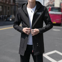 Jacket Youth fashion M L XL 2XL 3XL 4XL 5XL 6XL thin easy Other leisure autumn Polyester 100% Long sleeves Wear out Hood Basic public youth Medium length Oblique lapel Straight hem No iron treatment Autumn of 2018 Zipper decoration Mingji thread patch bag Pure e-commerce (online only)