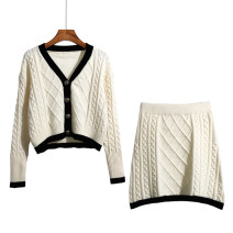 sweater Winter 2020 Average size White taro purple black Long sleeves Cardigan Two piece set have cash less than that is registered in the accounts Viscose 51% (inclusive) - 70% (inclusive) V-neck Regular commute routine Straight cylinder Regular wool Keep warm and warm 18-24 years old Meredith