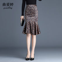 skirt Autumn of 2019 S M L XL 2XL 3XL 4XL Leopard Print Mid length dress commute High waist skirt Leopard Print Type H qat-1128 Qu aiting Zipper waist skirt lining Pure e-commerce (online only)