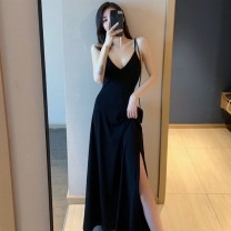 Dress Summer 2020 Black stripe S M L XL longuette singleton  Sleeveless commute V-neck High waist Solid color Socket A-line skirt camisole 18-24 years old Meng Youlai Korean version backless IHMC53822 More than 95% other Other 100% Pure e-commerce (online only)
