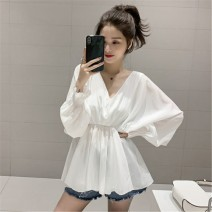 Lace / Chiffon Autumn of 2019 White black grey S M L XL 2XL Long sleeves commute Socket singleton  easy Regular V-neck Solid color bishop sleeve 18-24 years old Meng Youlai Korean version 96% and above Other 100% Pure e-commerce (online only)