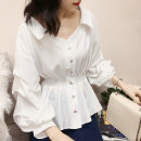 shirt S M L XL Spring 2021 other 96% and above Long sleeves commute Regular V-neck Single row multi button Pile sleeve Solid color 18-24 years old Self cultivation Meng Youlai Korean version Other 100% Pure e-commerce (online only)