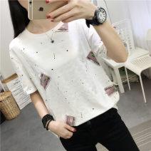 T-shirt M L XL XXL Summer of 2019 Short sleeve Regular polyester fiber 86% (inclusive) -95% (inclusive) Tai Anli 3D Old Lace Up Polyester 95% polyurethane elastic fiber (spandex) 5%