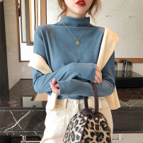 T-shirt White black gray blue apricot Brown Pink Plush White Plush black M L XL XXL Winter 2020 Long sleeves Half high collar Self cultivation Regular routine commute polyester fiber 86% (inclusive) -95% (inclusive) 18-24 years old Solid color Tai Anli 3202.,//