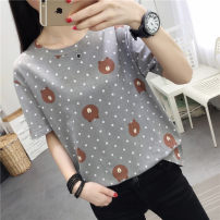 T-shirt Pink grey M L XL XXL Summer of 2019 Short sleeve Regular polyester fiber 86% (inclusive) -95% (inclusive) Tai Anli six thousand two hundred and nine 3D Old Lace Up Polyester 95% polyurethane elastic fiber (spandex) 5%