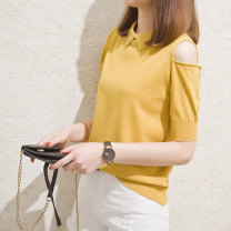 T-shirt Yellow black white light apricot S M L XL Summer of 2019 Short sleeve Doll Collar Straight cylinder Regular other commute other 96% and above Korean version classic Solid color Alos' Poems Thread hole Other 100% Exclusive payment of tmall