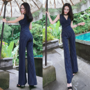 Casual pants Blue, black S,M,L,XL,2XL trousers Jumpsuit High waist commute routine Cotton blended fabric Korean version