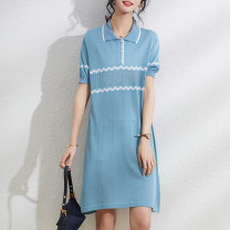 Dress Summer 2021 Blue black M L XL XXL Mid length dress singleton  Short sleeve commute square neck Loose waist Solid color Socket A-line skirt routine Others 25-29 years old Ji Meixin Korean version Button Ju 3094 More than 95% knitting other Other 100% Pure e-commerce (online only)