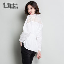 shirt White black SMLXLXXL Spring of 2018 Long sleeves commute Medium length Polo collar Single row multi button Bat sleeve Solid color 25-29 years old Ji Meixin Korean version C16880 Cut out and pleated button Other 100% Pure e-commerce (online only)