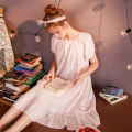 Nightdress Cotton shell Shell powder 160(M) 165(L) Sweet Short sleeve pajamas Middle-skirt summer Solid color youth square neck cotton Lotus leaf edge More than 95% pure cotton Jacquard princess skirt shell powder 200g and below Summer 2020 Cotton 100%