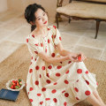 Nightdress Cotton shell Red dot 160(M) 165(L) Sweet Short sleeve pajamas Middle-skirt summer Dot youth Crew neck cotton Lotus leaf edge More than 95% pure cotton 2016 poldian Princess Dress Summer 2020 Cotton 100%