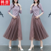 Dress Autumn of 2019 Purple white black S M L XL 2XL longuette Two piece set Long sleeves commute V-neck Elastic waist Solid color Socket A-line skirt routine Others 25-29 years old Type A Han Xi Korean version Three dimensional decorative mesh resin fixation 3D HX8108 More than 95% knitting other