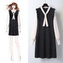 Dress Autumn 2020 Black blue S M L XL Mid length dress singleton  Long sleeves commute V-neck Loose waist Solid color Socket A-line skirt routine Others 25-29 years old Type H Jack cat Korean version Ruffle stitching More than 95% other other Other 100%
