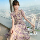 Dress Summer 2021 violet S M L XL longuette singleton  Short sleeve commute V-neck High waist Decor Socket A-line skirt routine Others 25-29 years old Jack cat Korean version printing More than 95% Chiffon other Other 100%